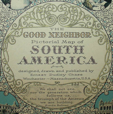 The Good Neighbor Pictorial Map of South America, detail