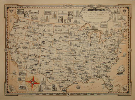 Map United States Pictorial Ernest Dudley Chase Vintage Print