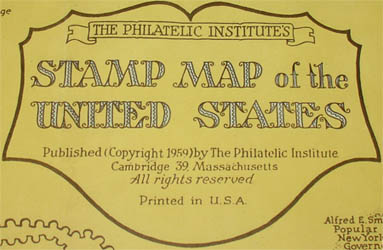 Ernest Dudley Chase, The Philatelic Institute's Stamp Map of the United States, detail