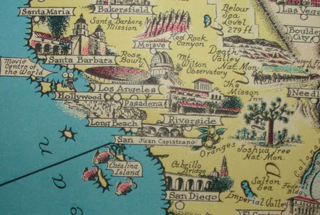 Map Of America Hollywood.Map United States Pictorial America The Wonderland Ernest Dudley