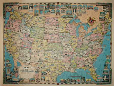 Ernest Dudley Chase, America the Wonderland, A Pictorial Map of the United States