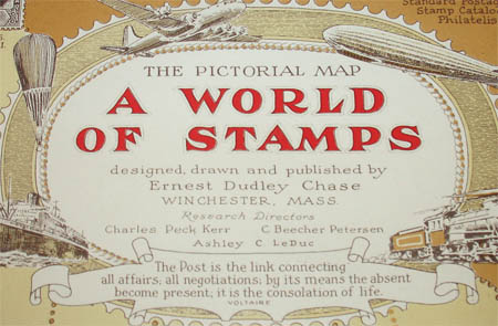 Ernest Dudley Chase, The Pictorial Map, A World of Stamps, detai