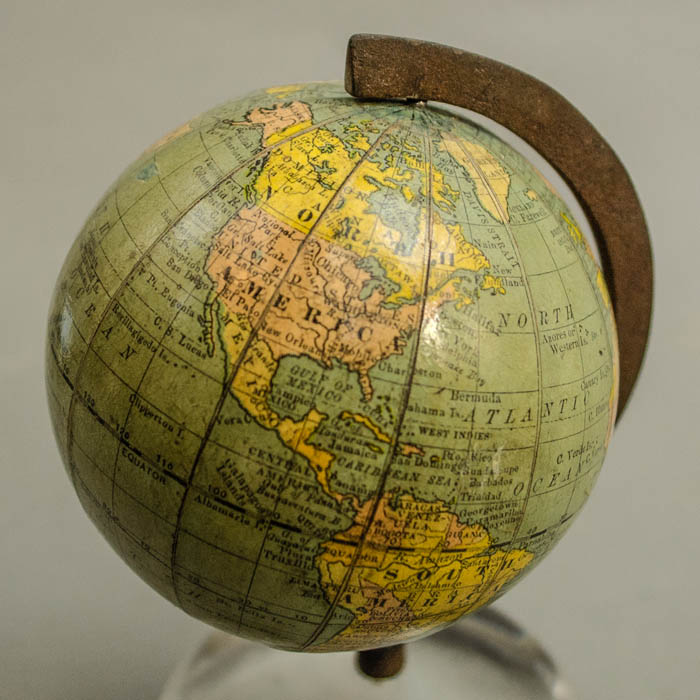 Globe, American, Rand McNally, Terrestrial World, 3-Inch Table Globe, Glass Paperweight Stand, Chicago, c. 1891-1914 – George Glazer Gallery, Antiques