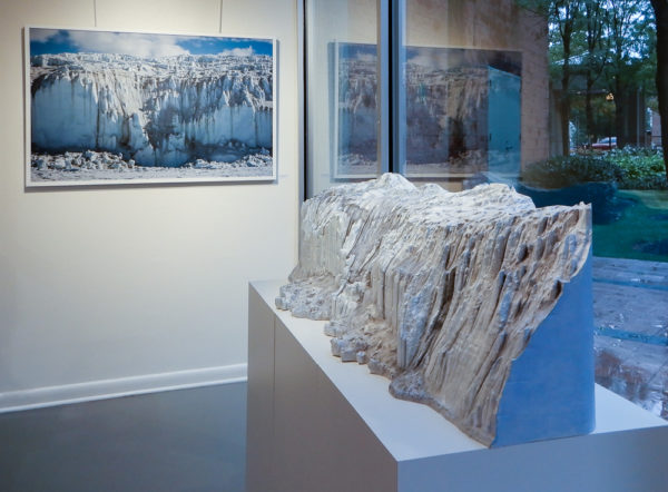 Canada Glacier from Lake Fryxell, Antarctica, photograph and sculpture at the Trawick Prize Finalists Exhibition in 2017