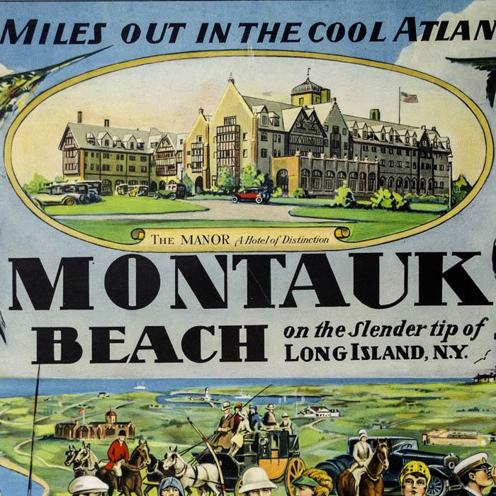 View Long Island Montauk Beach Hamptons Antique Poster 1927 George Glazer Gallery Antiques