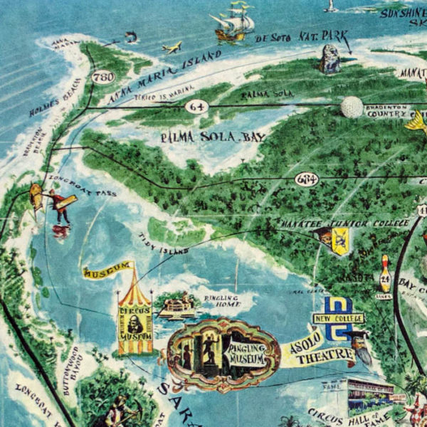 Sarasota, Official Map by Thornton Utz, detail