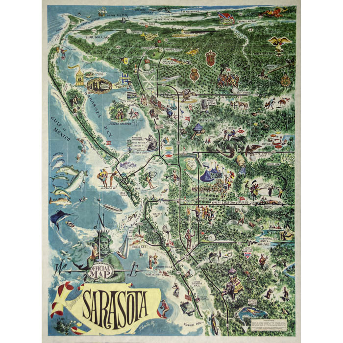 Map Of Florida Sarasota.Map Florida Sarasota Pictorial Thornton Utz Vintage Print 1960s