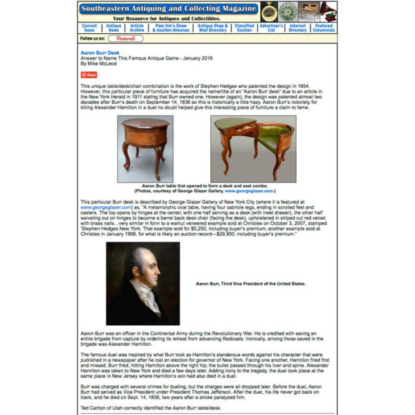 """Aaron Burr desk"" magazine feature."