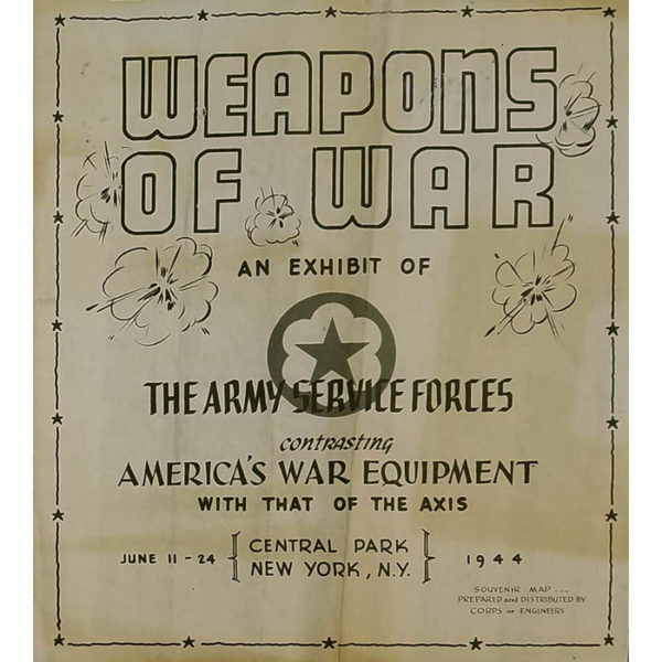 Weapons of War: An Exhibit of the Army Service Forces, Map of Central Park, front cover