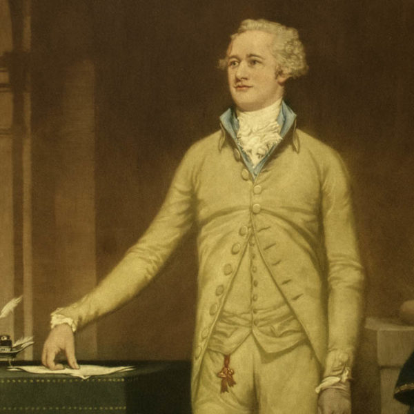 Alexander Hamilton, portrait print after John Trumbull, detail