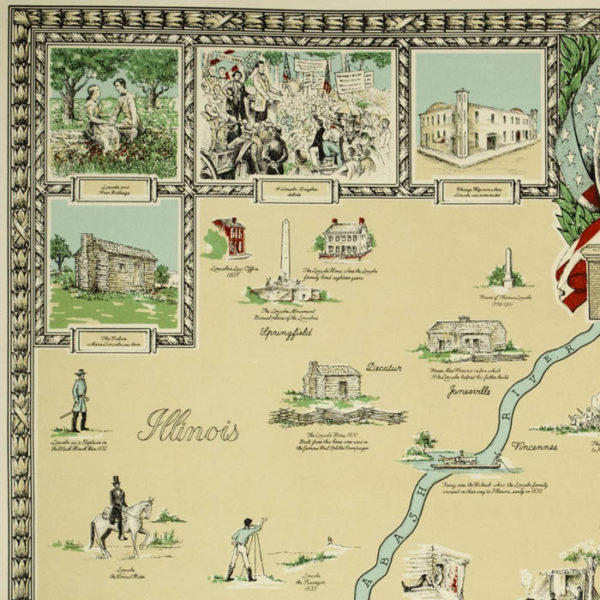 Abraham Lincoln Pictorial Map, detail