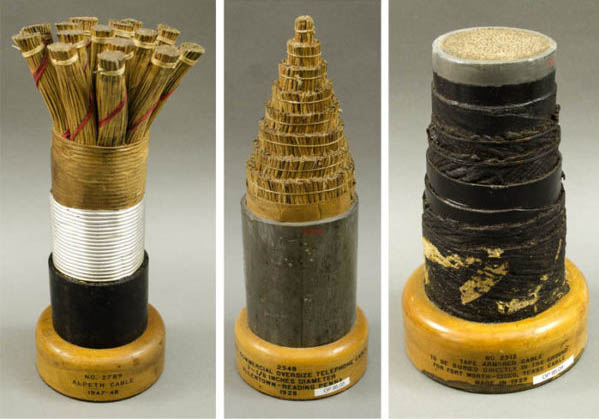 Souvenir sections of underground telephone cables