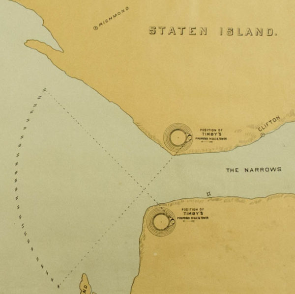 Detail of Map of the Narrows, Lower Bay and Sandy Hook by T.R. Timby