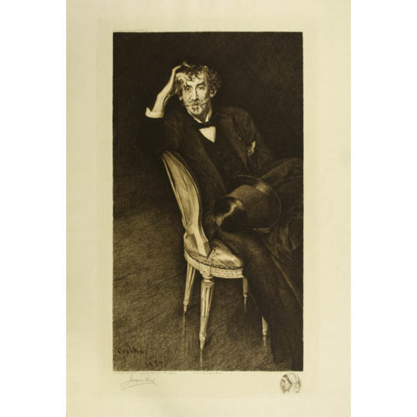 Portrait of James McNeill Whistler, etching after Boldini