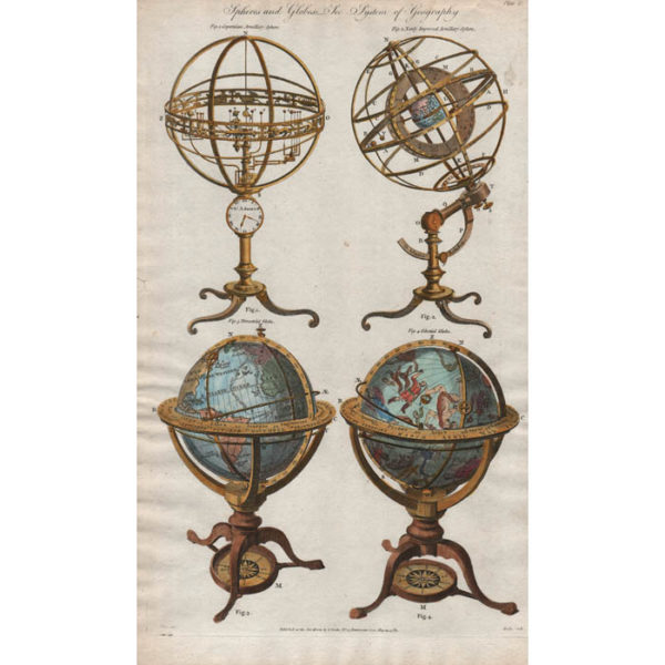 Spheres and Globes -- See System of Geography, Plate 2 from The New Royal Encyclopedia, London: 1798