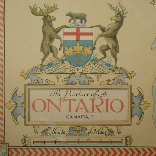 The Province of Ontario, Canada, pictorial map detail