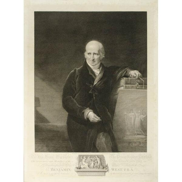Benjamin West, portrait engraving after G.H. Harlow