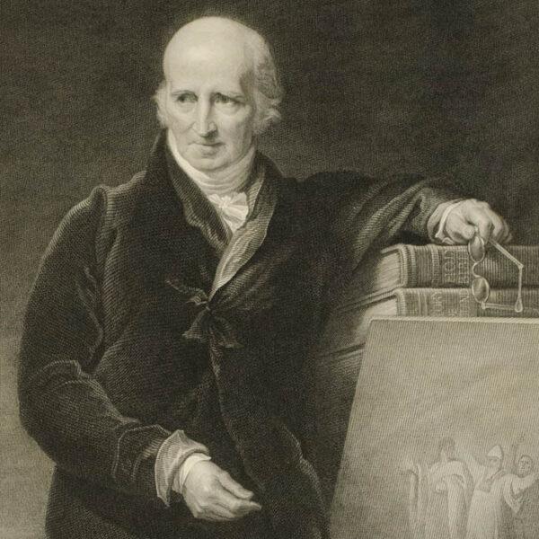 Benjamin West, portrait engraving after G.H. Harlow, detail