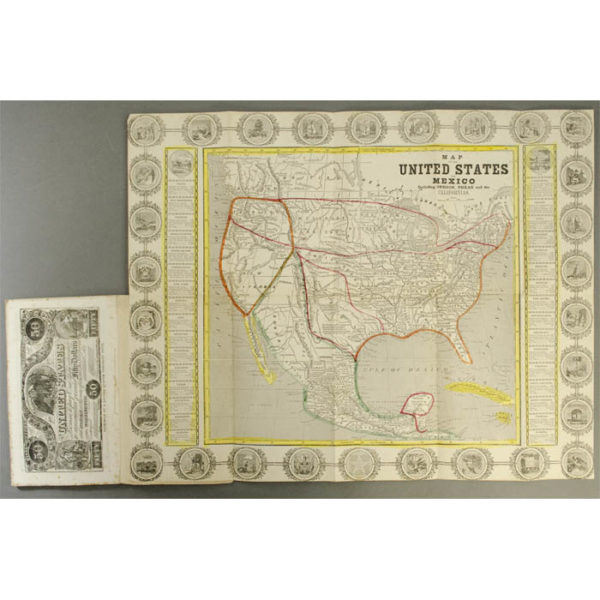 Map of the United States and Mexico Including Oregon, Texas and the Californias (right) attached to Lives of the Presidents book (left)