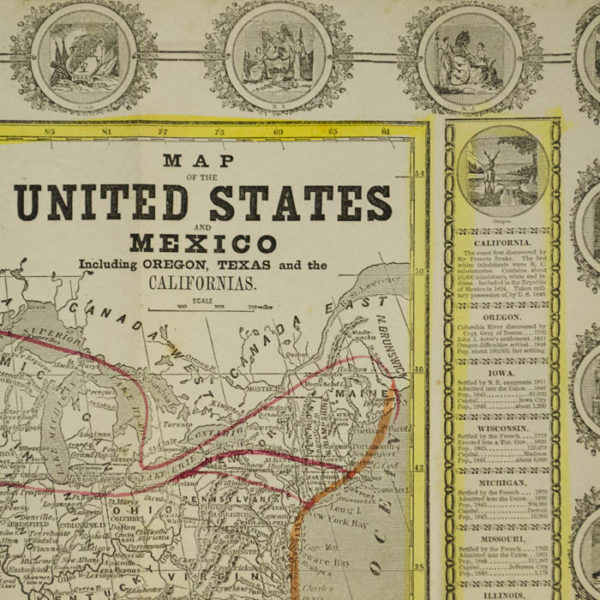 Map of the United States and Mexico Including Oregon Texas and the Californias, map detail