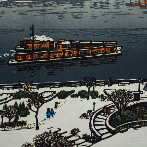 East River in Winter, detail