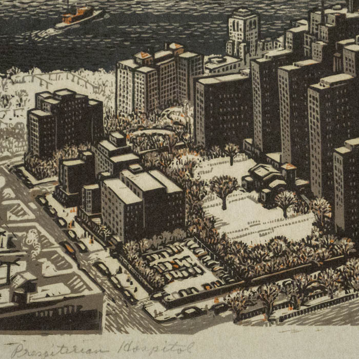 View, New York City, Washington Heights, Woldemar Neufeld, Presbyterian  Hospital, Vintage Print, 20th C