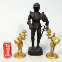 Miniature Knight Model and Knight Brass Candlesticks