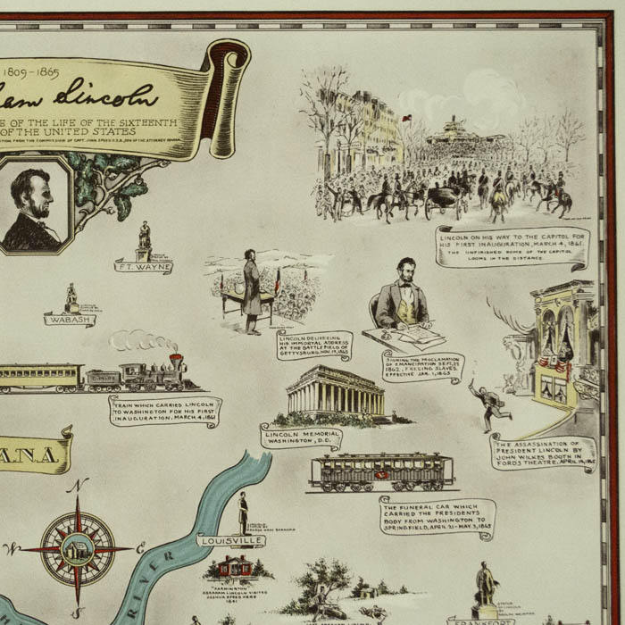 Early Pictorial Illinois Map Its Geography Its History Wall Art Poster Print