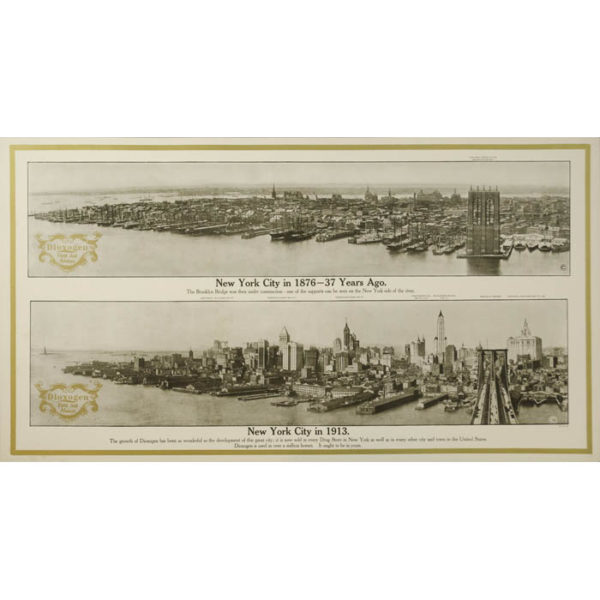 New York City in 1876 and 1913 — Dioxogen Promotional Poster