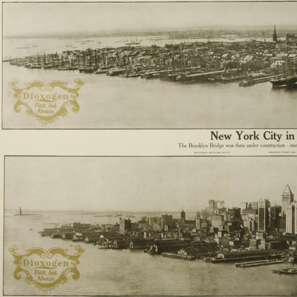 New York City in 1876 and 1913 — Dioxogen Promotional Poster, detail