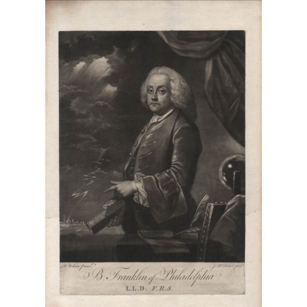 B. Franklin of Philadelphia, 1761, L.L.D., F.R.S., after Benjamin Wilson
