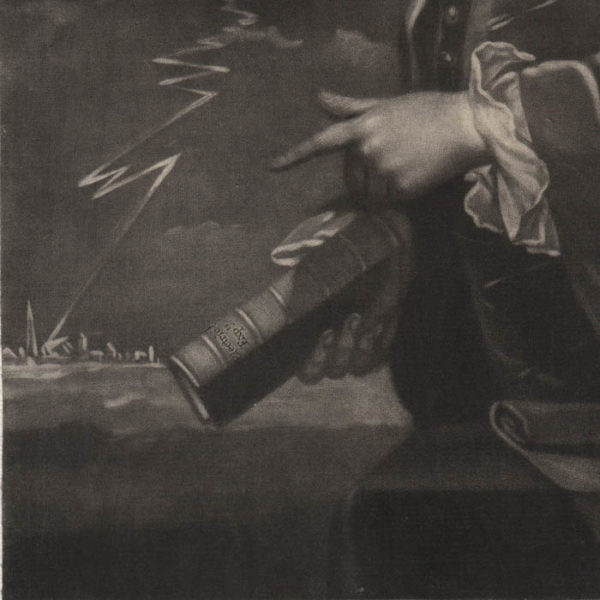 B. Franklin of Philadelphia, 1761, L.L.D., F.R.S., mezzotint detail