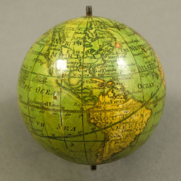 Lane/Harris 2.75-Inch Terrestrial Pocket Globe in Celestial Case, detail