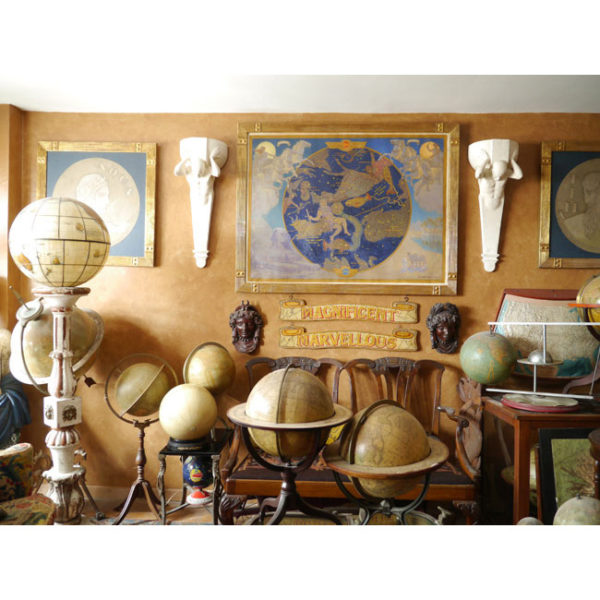 Art Deco oil painting, carnival signs and globes