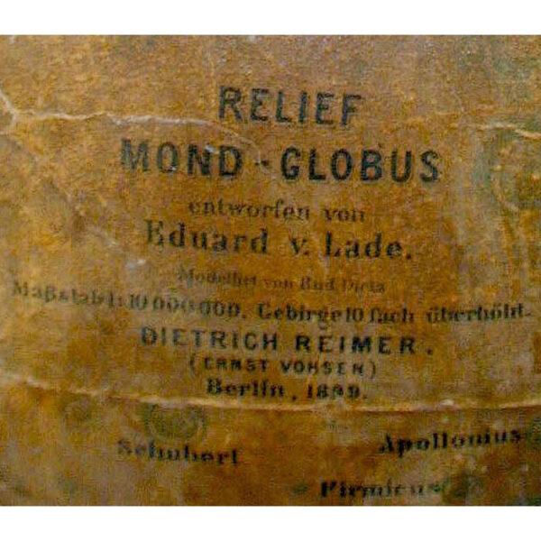 Dietrich Reimer 13-Inch Moon Relief Globe, detail