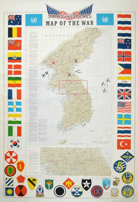 Stars and Stripes Korean War Map