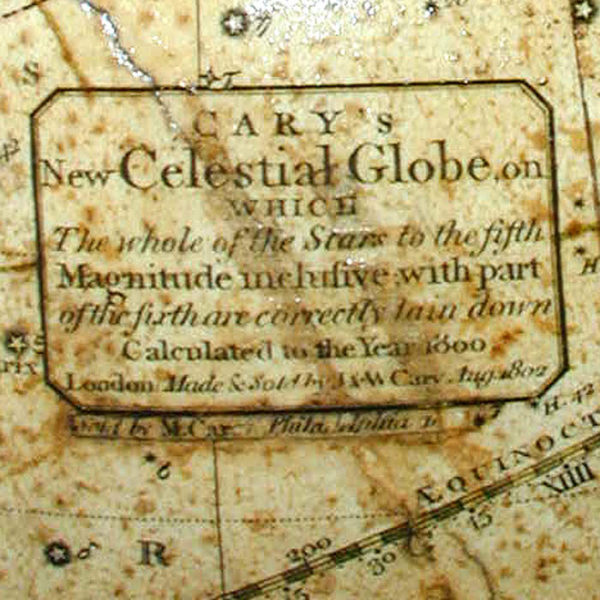 Mathew Carey/ J. & W. Cary Celestial Table Globe, detail