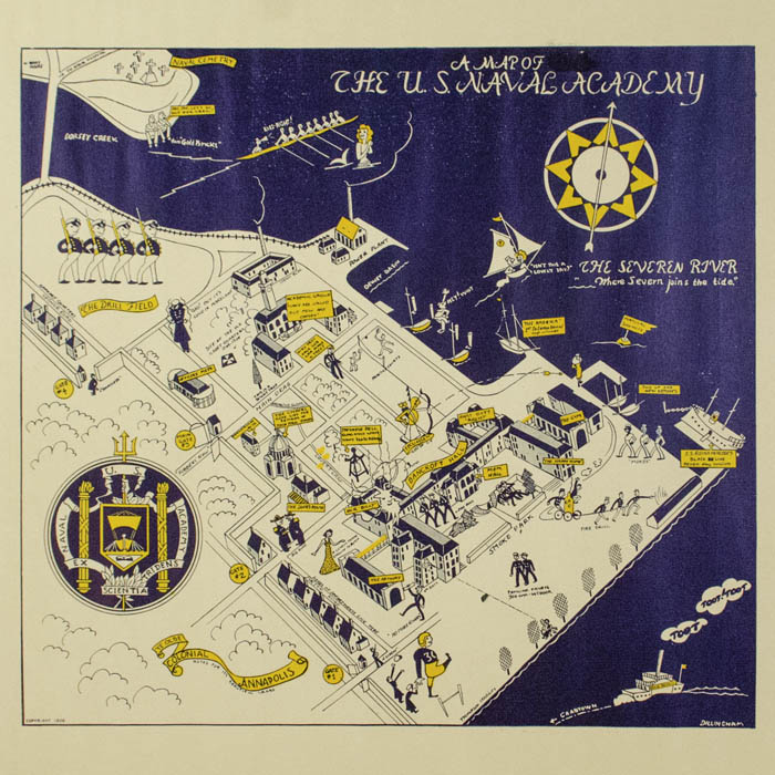 Us Naval Academy Map Map, Maryland, Annapolis, Pictorial, US Naval Academy, Vintage