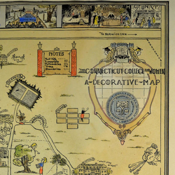 The Connecticut College for Women, A Decorative Map, detail