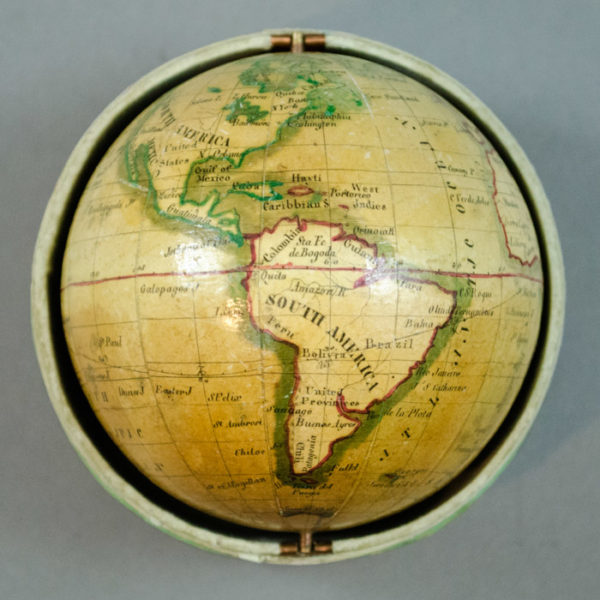 Bauer Family, 3.5-Inch Terrestrial Globe in Cylindrical Box, detail