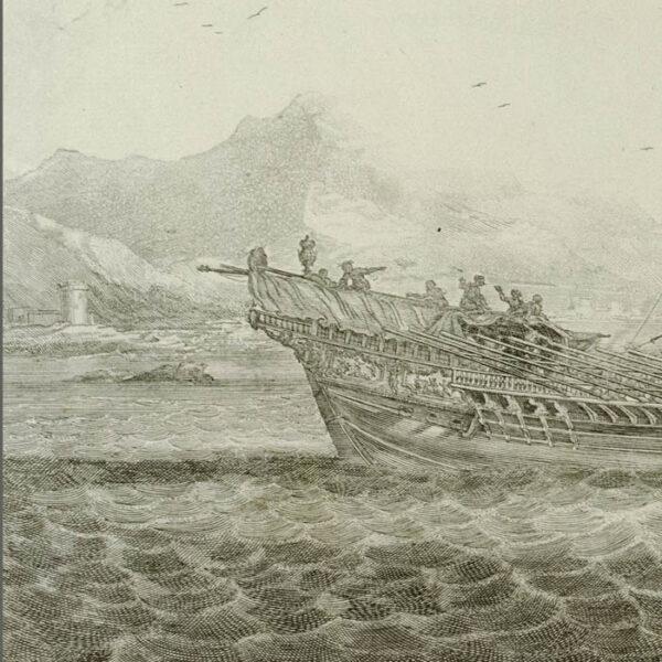 Galere a la voille portant l'Estendart de chef d'Escadre, detail
