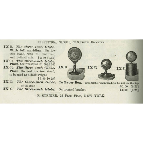 Schedler paperweight globe in 1878 Steiger educational supply catalog