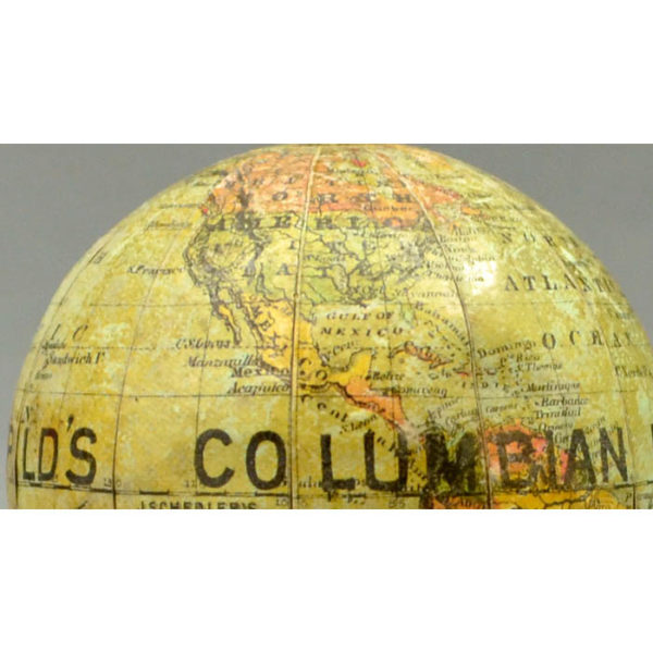 Joseph Schedler 3-Inch Terrestrial Globe World's Columbian Exposition, Chicago, Ill. 1893 [Pencil Sharpener/Paperweight/World's Fair Souvenir Globe]