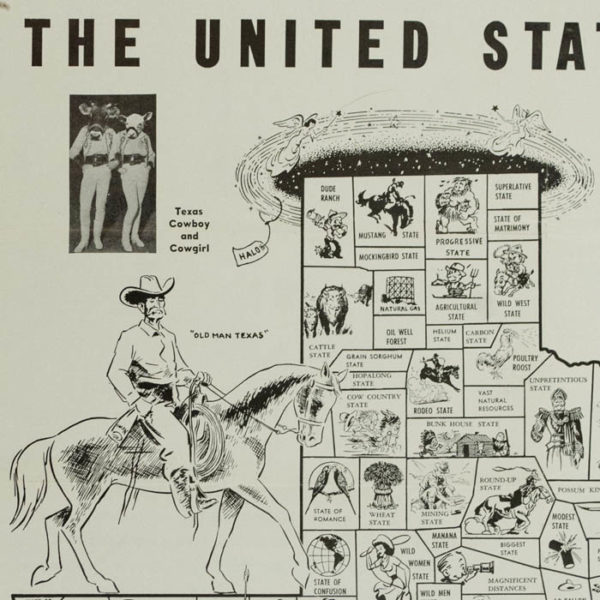 The United States of Texas, satirical novelty map, detail of front