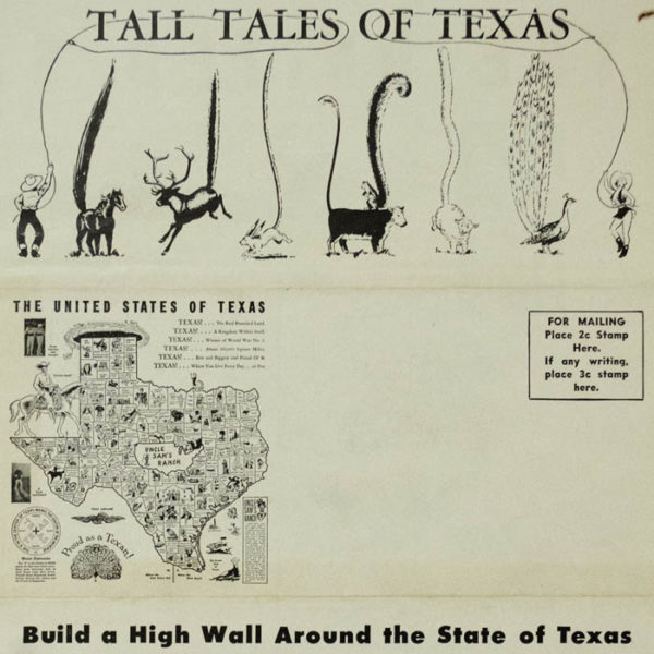 The United States of Texas, satirical novelty map, detail of back