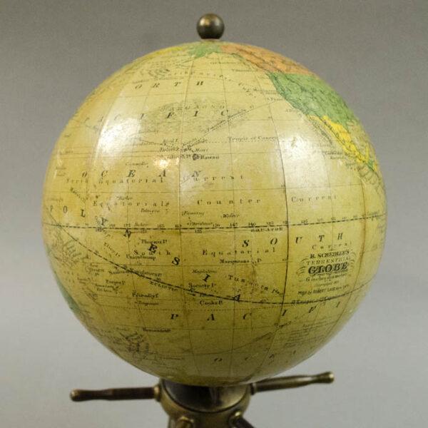 Herman Schedler/ Robert Gair 6-Inch Globe on Capstan Base, detail