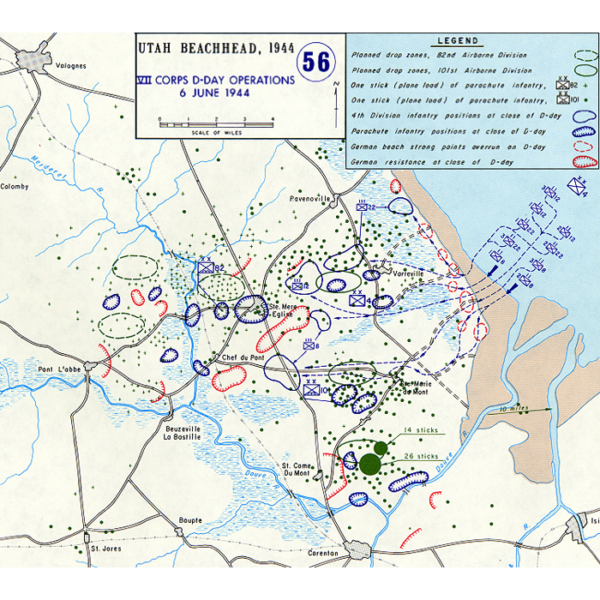 Utah Beach Positions at Close of D-Day (brown areas=beach)