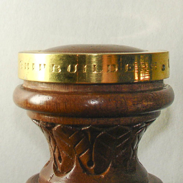 Carved Wood Gilt-Mounted Commemorative Ship-Launching Gavel, detail