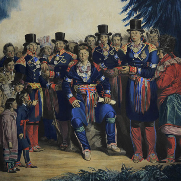 The Presentation of a Newly Elected Chief of the Huron Tribe, Canada, detail