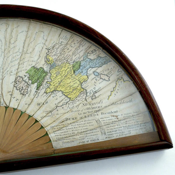 Fan Decorated with Archer, Map and Riddles, detail